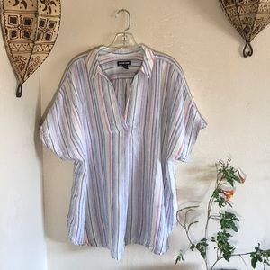 🍭VTG linen stripe popover blouse